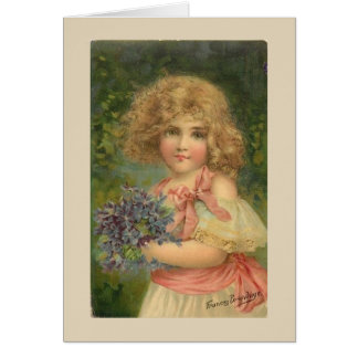 Little Girl with Violets, Card