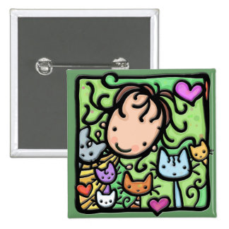 Little Girlie and her kitties 15 Cm Square Badge