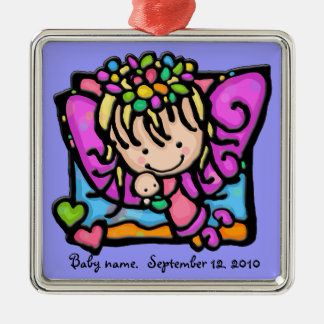 Little Girlie angel fairy with her baby Christmas Ornament
