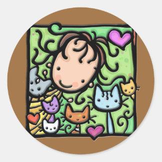 Little Girlie loves her kitties Classic Round Sticker