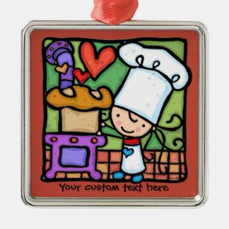 Little Girlie loves to bake bread DK RUST Christmas Ornament