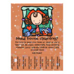 Little Girlie promotes her housecleaning business 21.5 Cm X 28 Cm Flyer