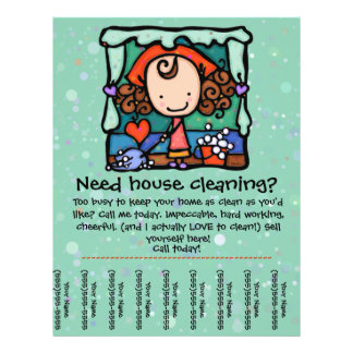 Little Girlie promotes housecleaning business GRN 21.5 Cm X 28 Cm Flyer