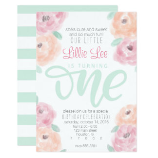Little girl's 1st birthday party flower invitation