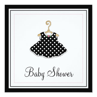Little Girl's Black Dress Baby Shower Invitation