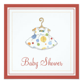 Little Girl's Dotted Dress Baby Shower Invitation
