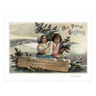 Little Girls Holding a Present and Tree Postcard