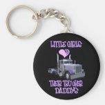 Little Girls Love Their Trucker Daddy's Basic Round Button Key Ring