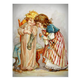 Little Girls Opening Stockings Postcard