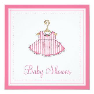 Little Girl's Pink Dress Baby Shower Invitation