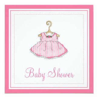 Little Girl's Pink Dress Baby Shower Invitation