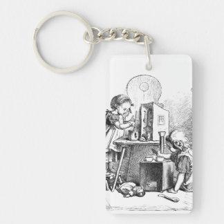 Little girls playing house etching Double-Sided rectangular acrylic key ring
