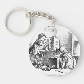 Little girls playing house etching Double-Sided round acrylic key ring