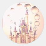 Little Girl's Princess Castle Birthday Invitations Round Sticker