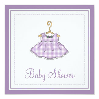 Little Girl's Purple Dress Baby Shower Invitation