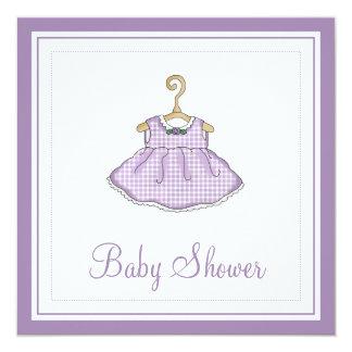 Little Girl's Purple Dress Baby Shower Invitation