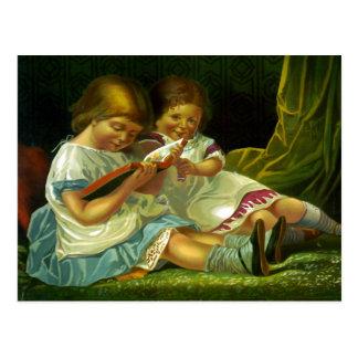 Little Girls Reading Vintage Illustration Postcard