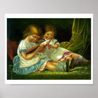 Little Girls Reading Vintage Illustration Poster