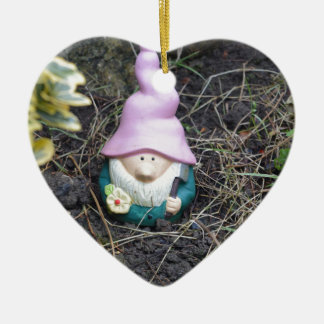 Little Gnome Ceramic Heart Decoration