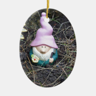 Little Gnome Ceramic Oval Decoration
