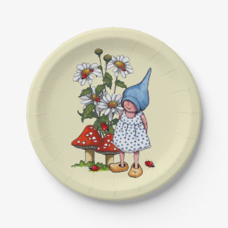 Little Gnome Girl, Daisies, Toadstool Original Art Paper Plate