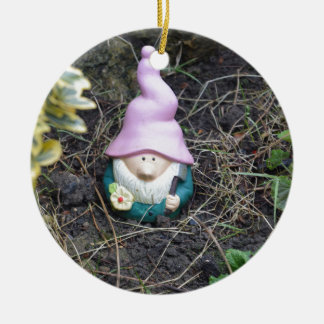 Little Gnome Round Ceramic Decoration