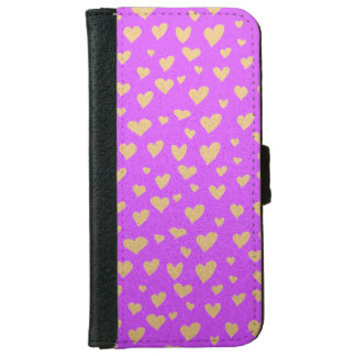 Little Gold Hearts on Purple Shimmer Background iPhone 6 Wallet Case