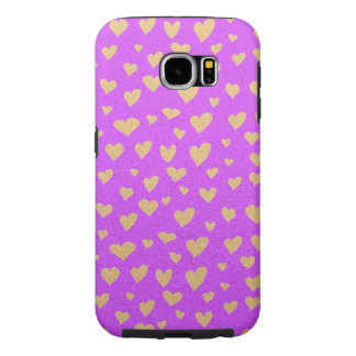 Little Gold Hearts on Purple Shimmer Background Samsung Galaxy S6 Cases