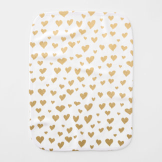 Little Gold Hearts on Snow White Background Burp Cloth