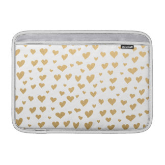 Little Gold Hearts on Snow White Background MacBook Sleeve