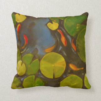 Little Goldfish Koi in Pond with Lily Pads Cushion