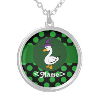 Little Goose Witch with Green Dots Round Pendant Necklace