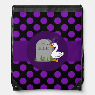 Little Goose with Grave Stone & Purple Dots Drawstring Bag