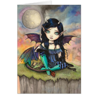 Little Gothic Fairy and Dragon Fantasy Art Greeting Card