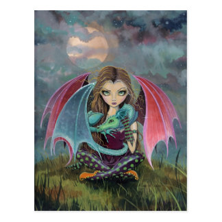 Little Gothic Fairy and Dragon Fantasy Art Postcard