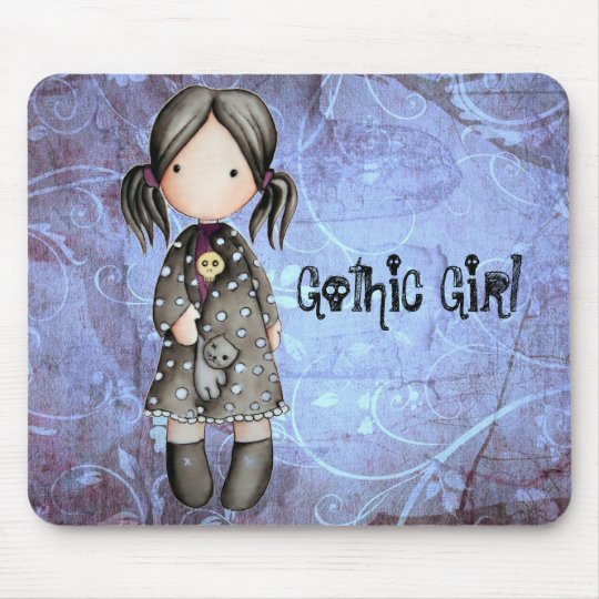 Little Gothic Girl with Skull Mousepad