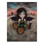 Little Gothic Halloween Fairy Vampire Art Postcard