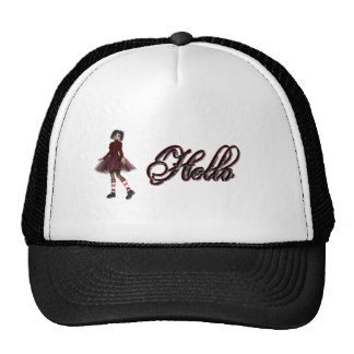 Little Gothy Girl Hello Mesh Hats