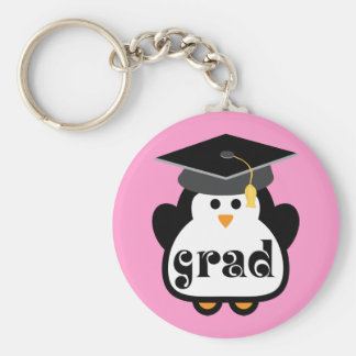 Little Grad Penguin Graduation Gift Basic Round Button Key Ring
