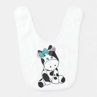 LITTLE GRAY AND WHITE COW WITH TURQUOISE BOW BIB