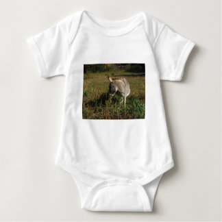 Little gray Donkey w / wildflowers Baby Bodysuit