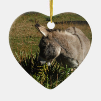 Little gray Donkey w / wildflowers Christmas Ornament