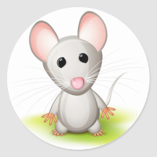 Little gray mouse classic round sticker