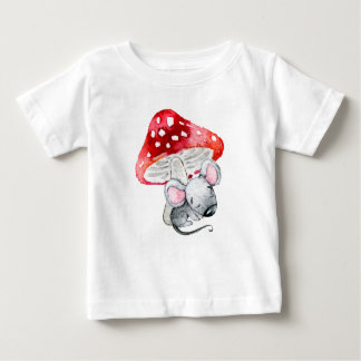 Little Gray Sleeping Mouse Under Red Mushroom Baby T-Shirt