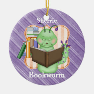 Little Green Bookworm Christmas Ornament
