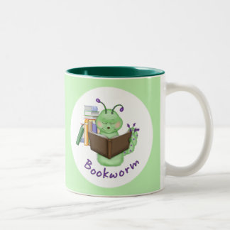 Little Green Bookworm Two-Tone Coffee Mug