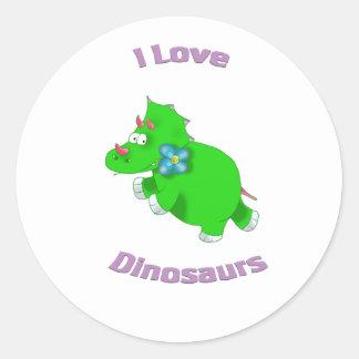 little green dinosaur ( i love dinosaurs) round sticker