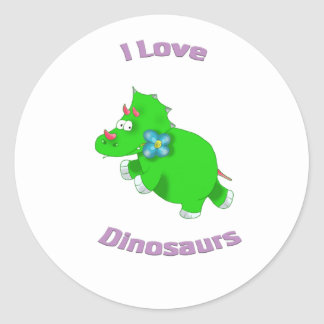 little green dinosaur ( i love dinosaurs) round stickers