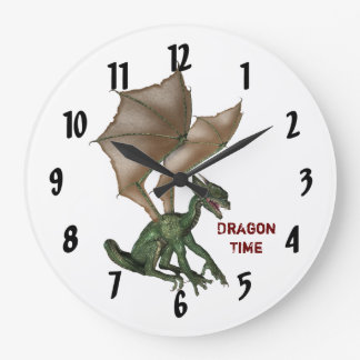 Little Green Dragon Time Wall Clock
