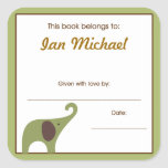 Little Green Elephant  Book Plate Bookplates Square Sticker